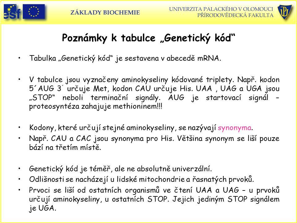 """Poznámky k tabulce """"Genetický kód"""