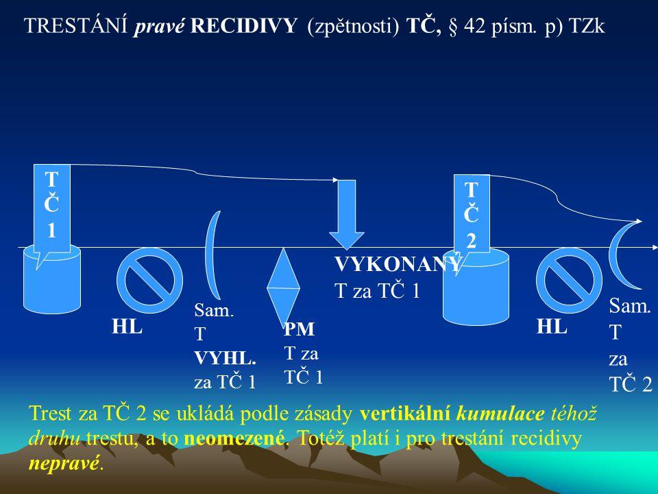 TRESTÁNÍ pravé RECIDIVY (zpětnosti) TČ, § 42 písm. p) TZk