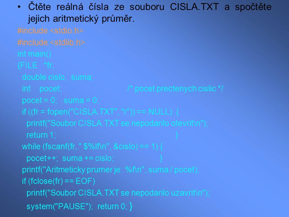 Čtěte reálná čísla ze souboru CISLA