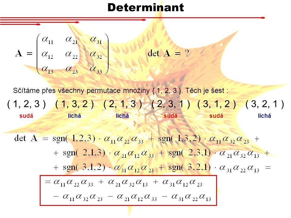 Determinant Sčítáme přes všechny permutace množiny { 1, 2, 3 }. Těch je šest : ( 1, 2, 3 ) ( 1, 3, 2 )