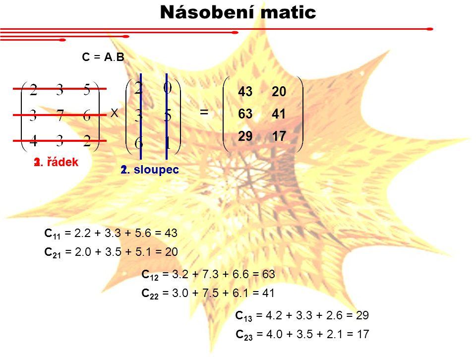 Násobení matic = 43 20 63 41 29 17 C = A.B X 1. řádek 2. řádek