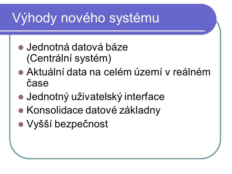 Výhody nového systému Jednotná datová báze (Centrální systém)