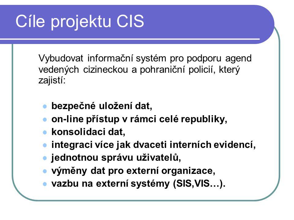 Cíle projektu CIS Vybudovat informační systém pro podporu agend vedených cizineckou a pohraniční policií, který zajistí: