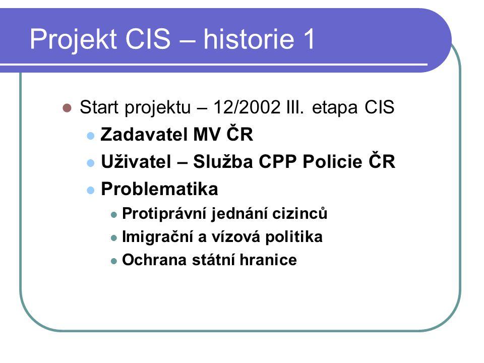 Projekt CIS – historie 1 Start projektu – 12/2002 III. etapa CIS