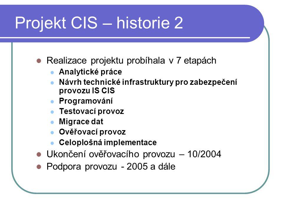 Projekt CIS – historie 2 Realizace projektu probíhala v 7 etapách