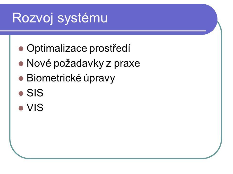 Rozvoj systému Optimalizace prostředí Nové požadavky z praxe