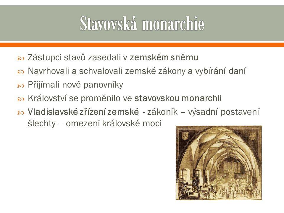 Stavovská monarchie Zástupci stavů zasedali v zemském sněmu