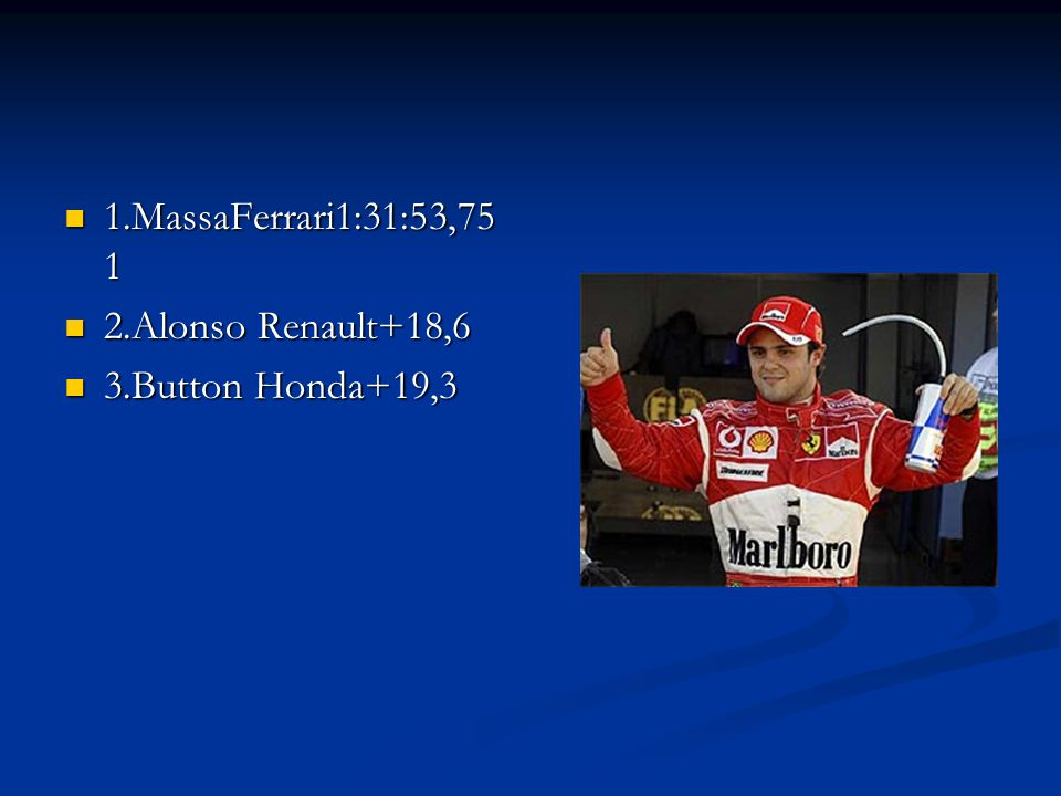 1.MassaFerrari1:31:53,751 2.Alonso Renault+18,6 3.Button Honda+19,3