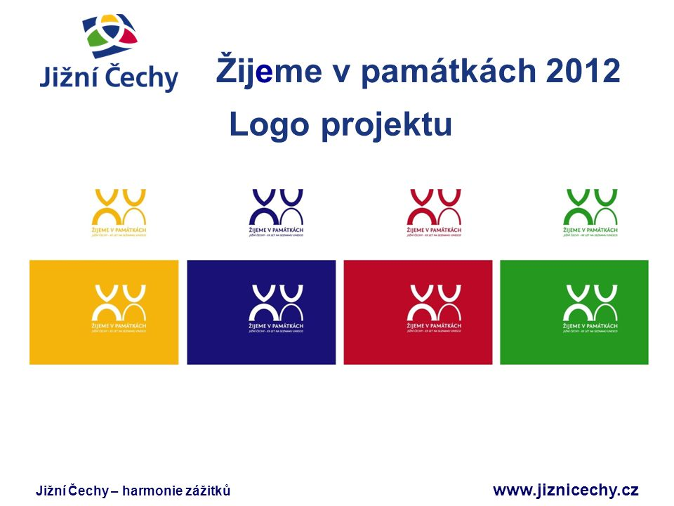 Žijeme v památkách 2012 Logo projektu Jižní Čechy