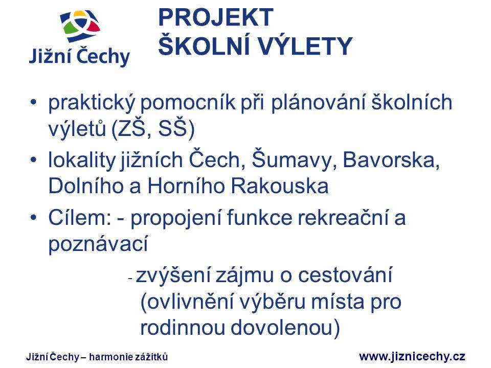 PROJEKT ŠKOLNÍ VÝLETY praktický pomocník při plánování školních výletů (ZŠ, SŠ) lokality jižních Čech, Šumavy, Bavorska, Dolního a Horního Rakouska.