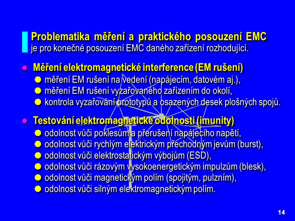 Problematika měření a praktického posouzení EMC je pro konečné posouzení EMC daného zařízení rozhodující.