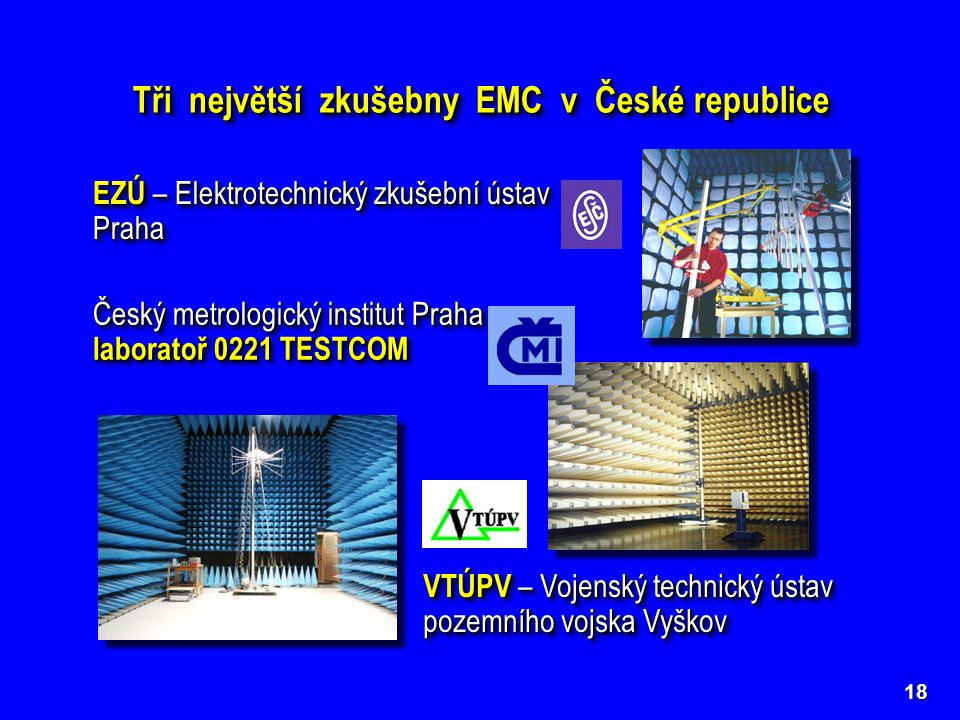Tři největší zkušebny EMC v České republice