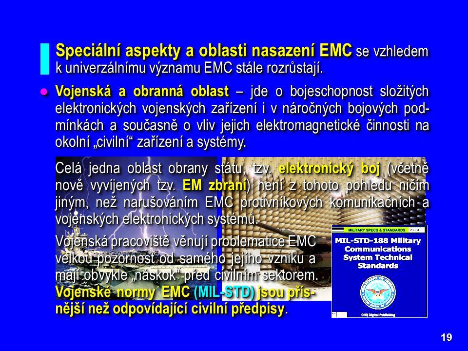 Speciální aspekty a oblasti nasazení EMC se vzhledem k univerzálnímu významu EMC stále rozrůstají.