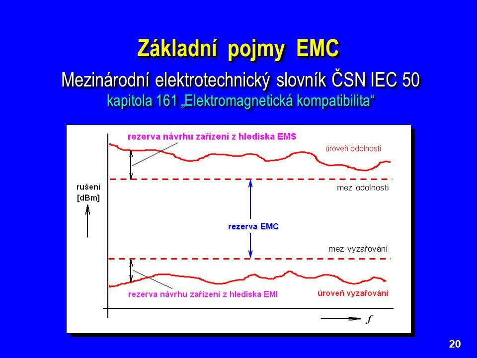 Základní pojmy EMC Mezinárodní elektrotechnický slovník ČSN IEC 50