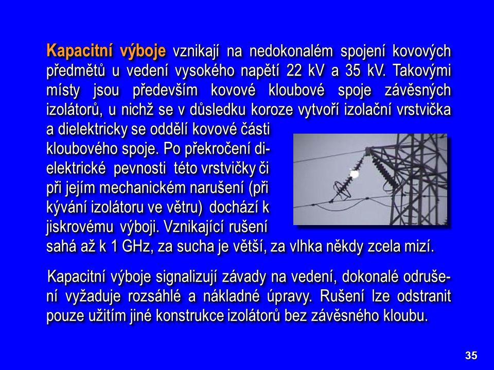 Kapacitní výboje vznikají na nedokonalém spojení kovových předmětů u vedení vysokého napětí 22 kV a 35 kV. Takovými místy jsou především kovové kloubové spoje závěsných izolátorů, u nichž se v důsledku koroze vytvoří izolační vrstvička a dielektricky se oddělí kovové části kloubového spoje. Po překročení di- elektrické pevnosti této vrstvičky či při jejím mechanickém narušení (při kývání izolátoru ve větru) dochází k jiskrovému výboji. Vznikající rušení sahá až k 1 GHz, za sucha je větší, za vlhka někdy zcela mizí.