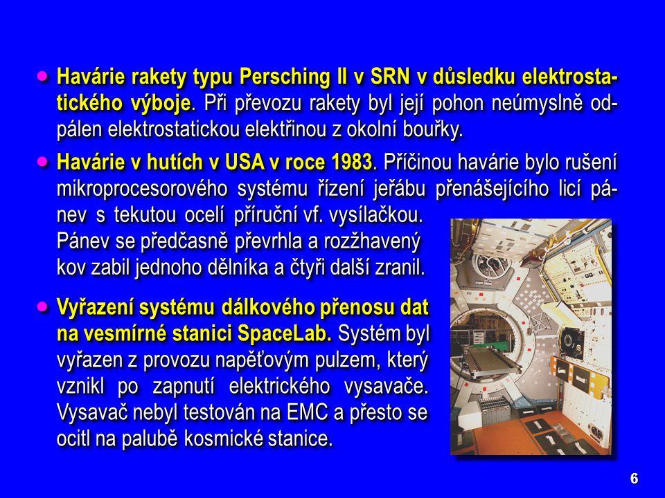 Havárie rakety typu Persching II v SRN v důsledku elektrosta-tického výboje. Při převozu rakety byl její pohon neúmyslně od-pálen elektrostatickou elektřinou z okolní bouřky.
