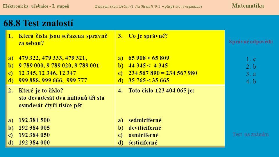 68.8 Test znalostí Která čísla jsou seřazena správně za sebou