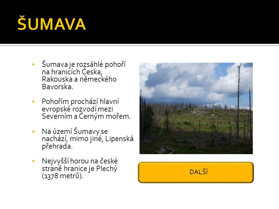 ŠUMAVA Šumava je rozsáhlé pohoří na hranicích Česka, Rakouska a německého Bavorska.