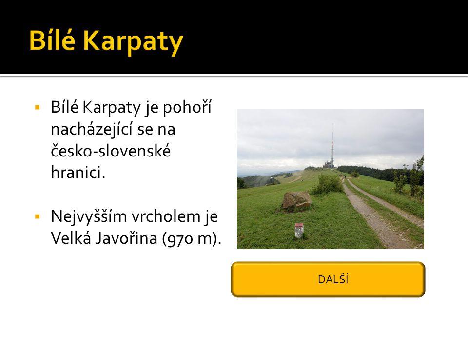 Bílé Karpaty Bílé Karpaty je pohoří nacházející se na česko-slovenské hranici. Nejvyšším vrcholem je Velká Javořina (970 m).