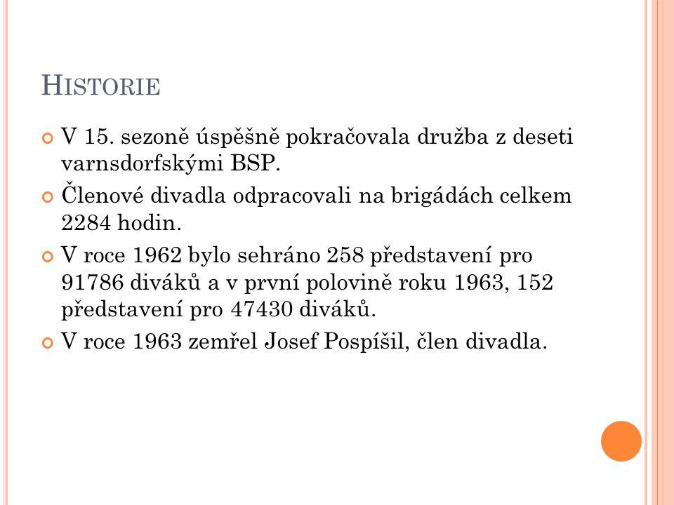 Historie V 15. sezoně úspěšně pokračovala družba z deseti varnsdorfskými BSP. Členové divadla odpracovali na brigádách celkem 2284 hodin.
