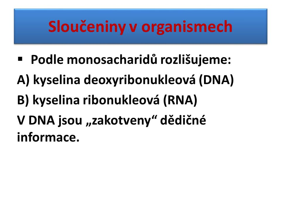 Sloučeniny v organismech