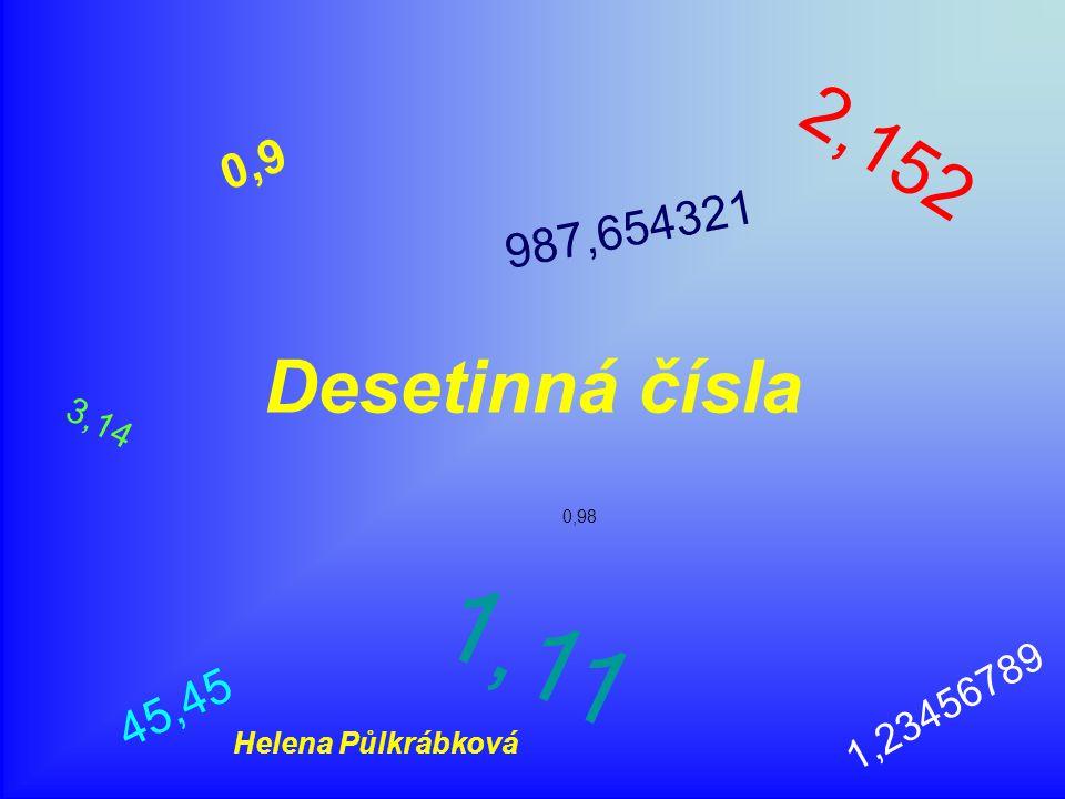 2,152 0,9 987,654321 Desetinná čísla 3,14 0,98 1,11 1,23456789 45,45 Helena Půlkrábková