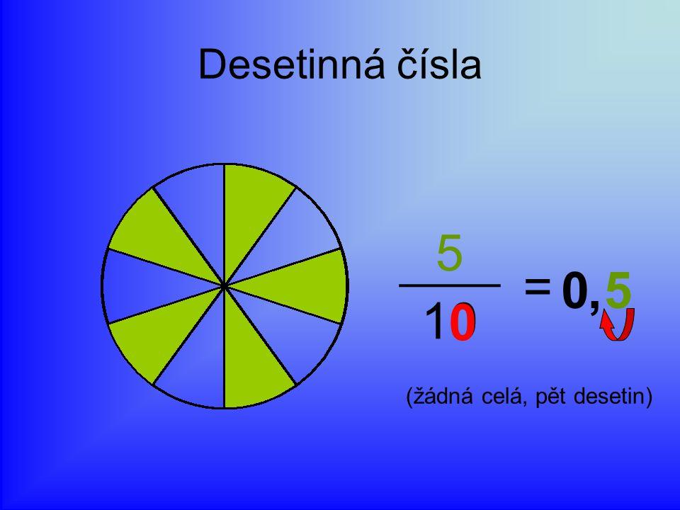 Desetinná čísla 5 = 10 , 5 (žádná celá, pět desetin)