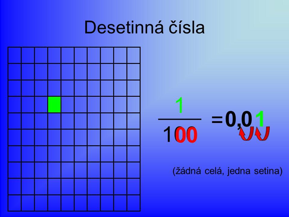 Desetinná čísla 1 = 100 , 1 (žádná celá, jedna setina)