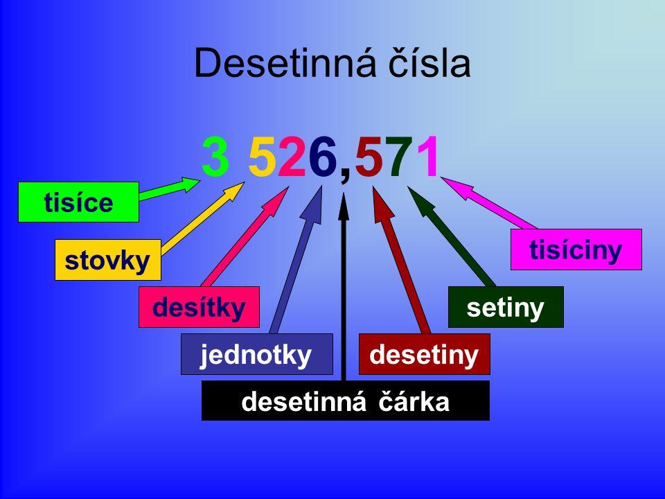 3 526,571 Desetinná čísla desítky setiny tisíce jednotky desetiny