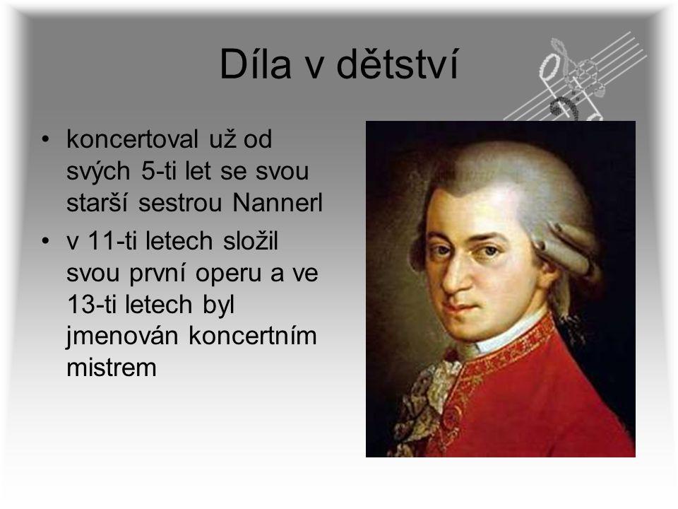Díla v dětství koncertoval už od svých 5-ti let se svou starší sestrou Nannerl.
