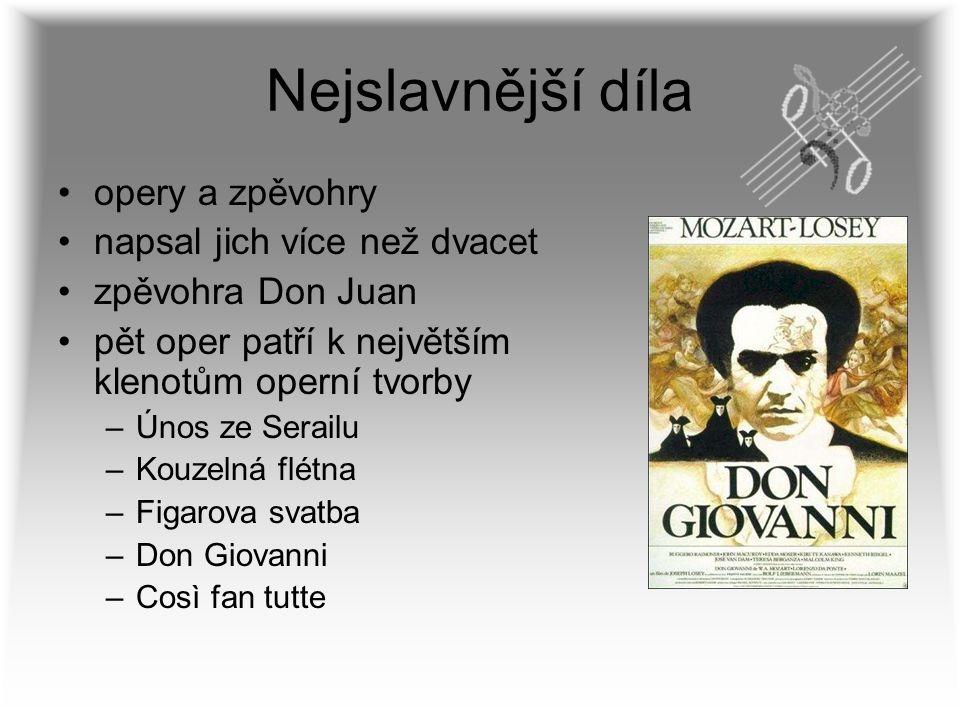 Nejslavnější díla opery a zpěvohry napsal jich více než dvacet