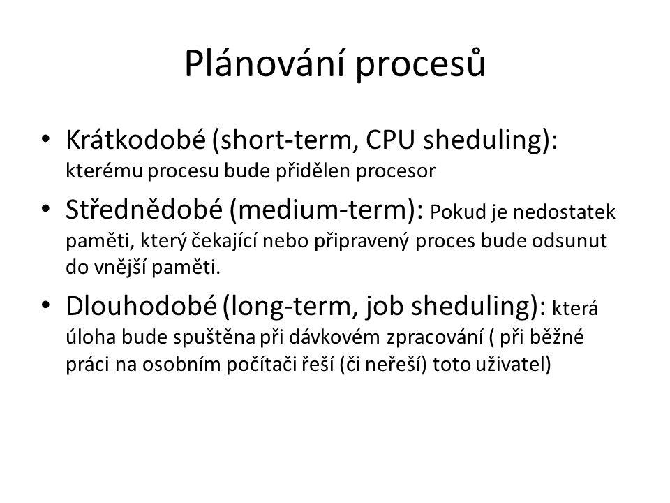 Plánování procesů Krátkodobé (short-term, CPU sheduling): kterému procesu bude přidělen procesor.