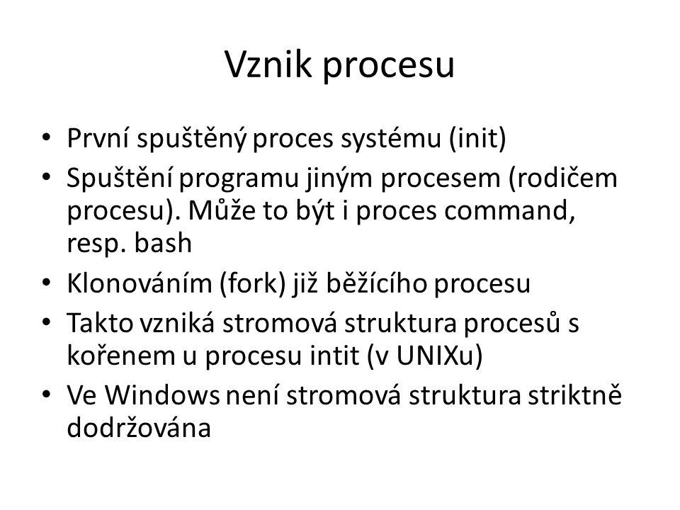Vznik procesu První spuštěný proces systému (init)