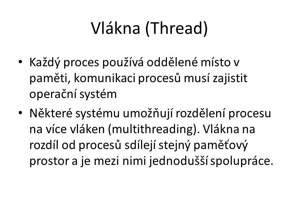Vlákna (Thread) Každý proces používá oddělené místo v paměti, komunikaci procesů musí zajistit operační systém.