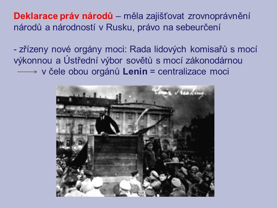 Deklarace práv národů – měla zajišťovat zrovnoprávnění národů a národností v Rusku, právo na sebeurčení