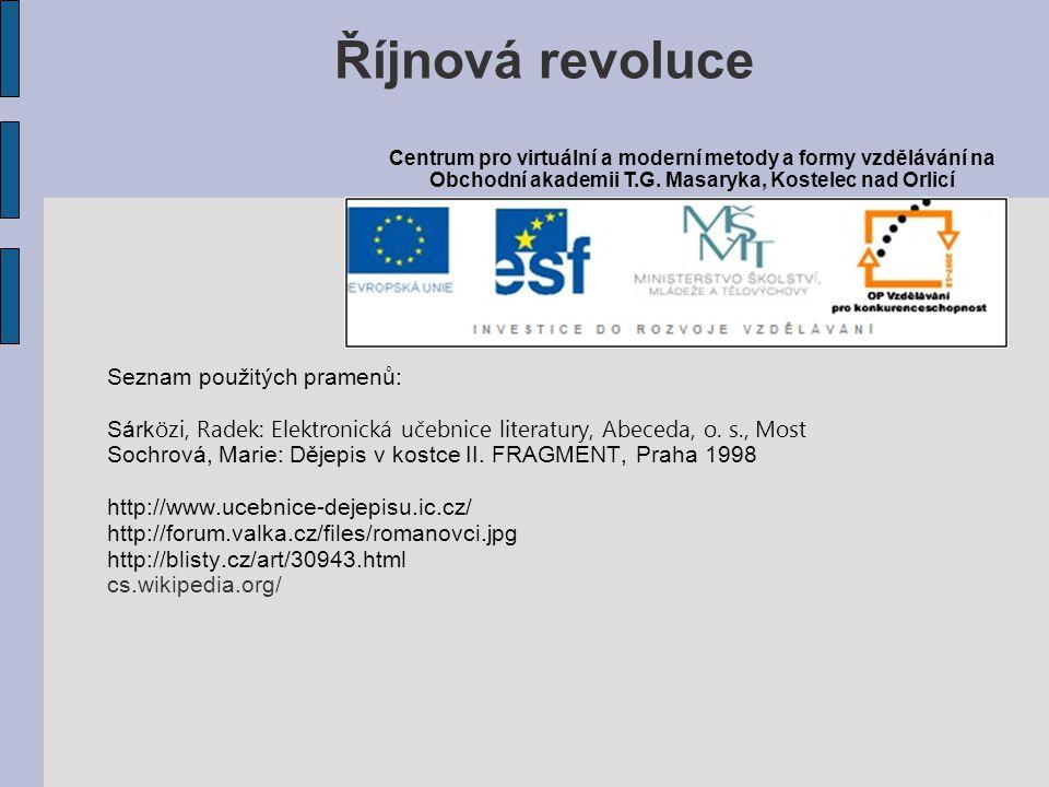 Říjnová revoluce Seznam použitých pramenů: