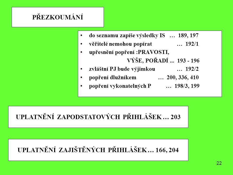 UPLATNĚNÍ ZAPODSTATOVÝCH PŘIHLÁŠEK … 203