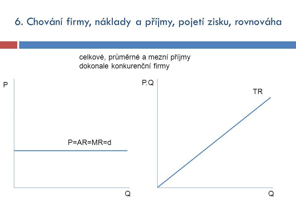 6. Chování firmy, náklady a příjmy, pojetí zisku, rovnováha