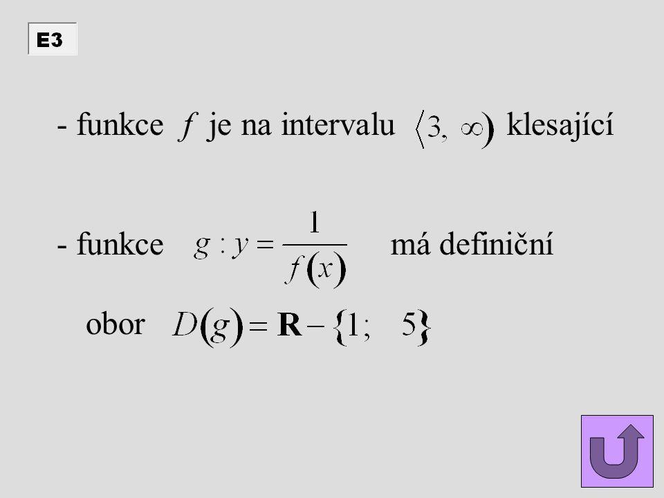 funkce f je na intervalu klesající