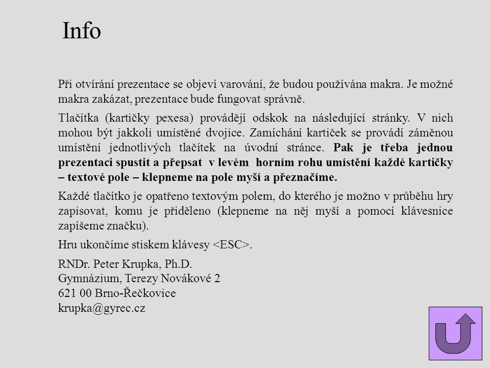 Info Při otvírání prezentace se objeví varování, že budou používána makra. Je možné makra zakázat, prezentace bude fungovat správně.