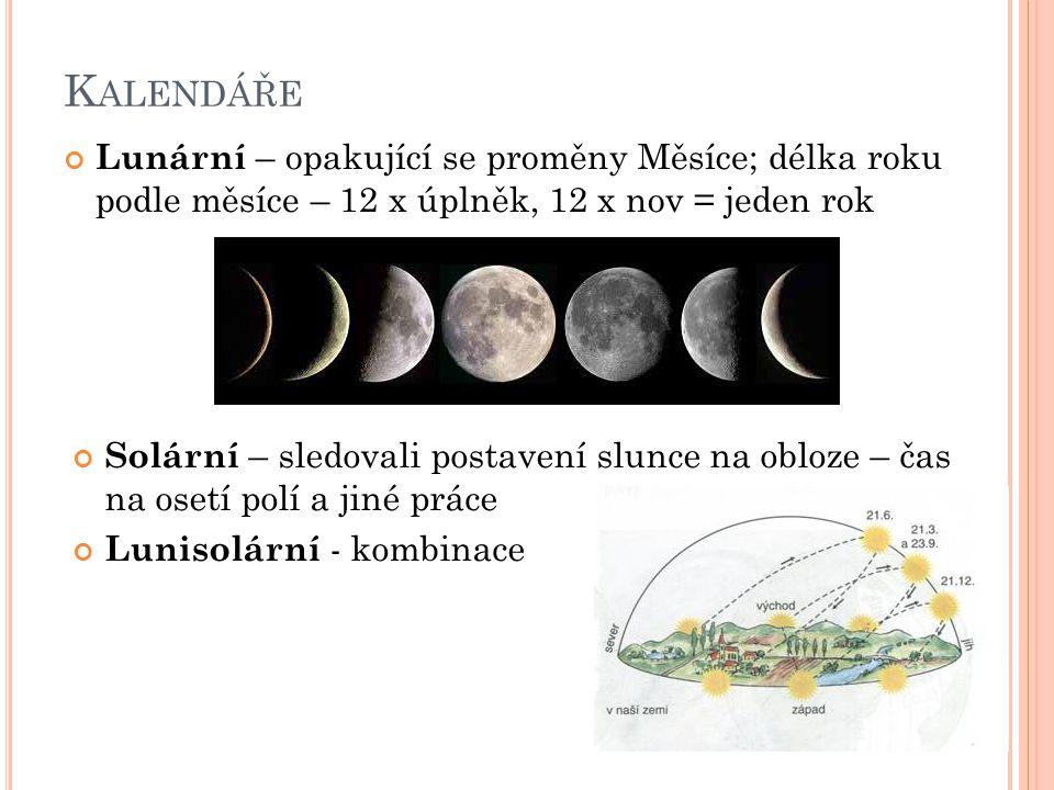 Kalendáře Lunární – opakující se proměny Měsíce; délka roku podle měsíce – 12 x úplněk, 12 x nov = jeden rok.