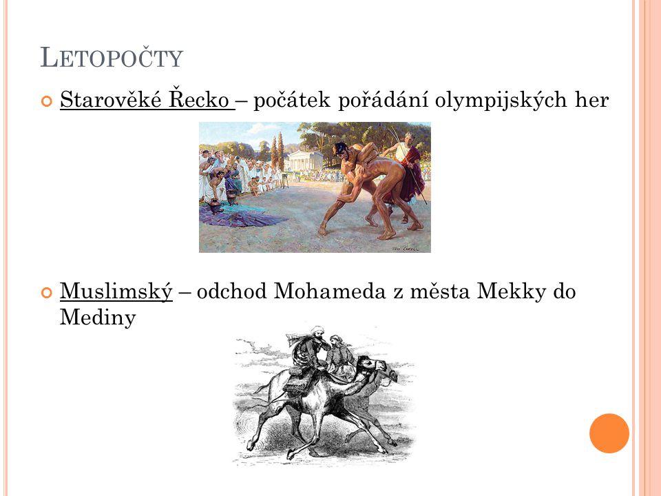 Letopočty Starověké Řecko – počátek pořádání olympijských her