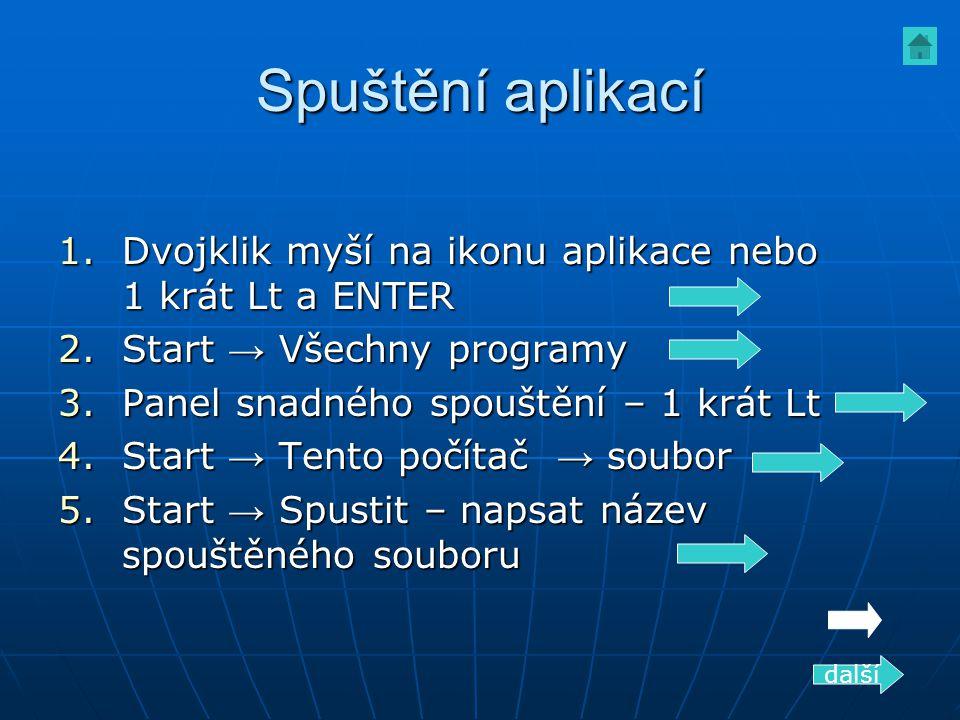 Spuštění aplikací Dvojklik myší na ikonu aplikace nebo 1 krát Lt a ENTER. Start → Všechny programy.