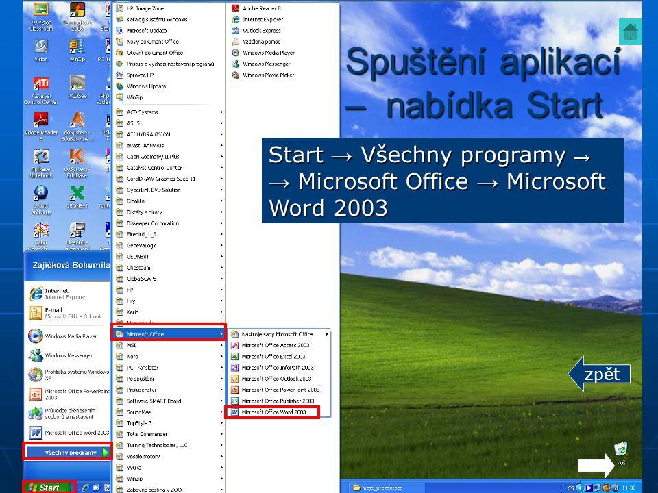 Spuštění aplikací – nabídka Start Start → Všechny programy →