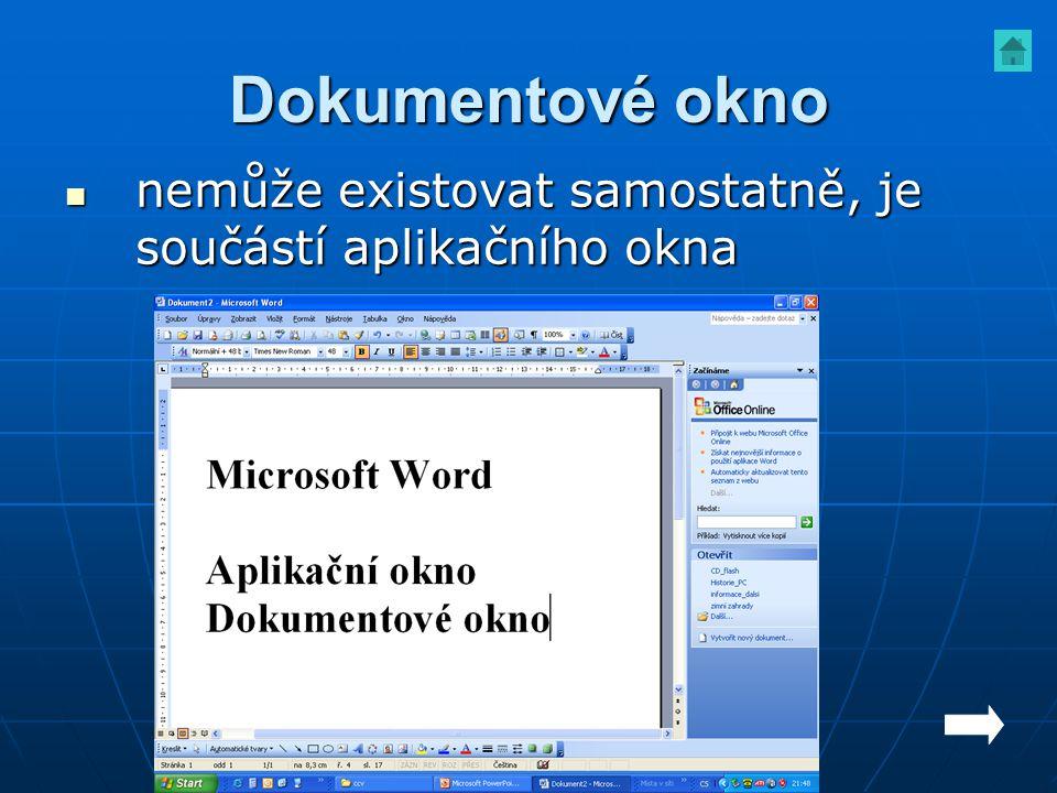 Dokumentové okno nemůže existovat samostatně, je součástí aplikačního okna
