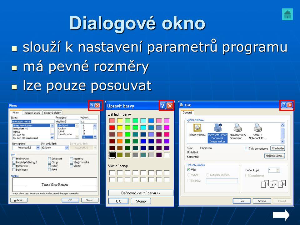 Dialogové okno slouží k nastavení parametrů programu má pevné rozměry