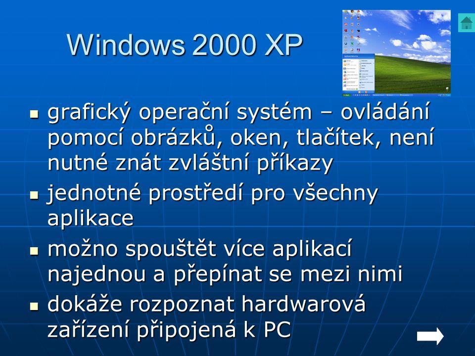 Windows 2000 XP grafický operační systém – ovládání pomocí obrázků, oken, tlačítek, není nutné znát zvláštní příkazy.