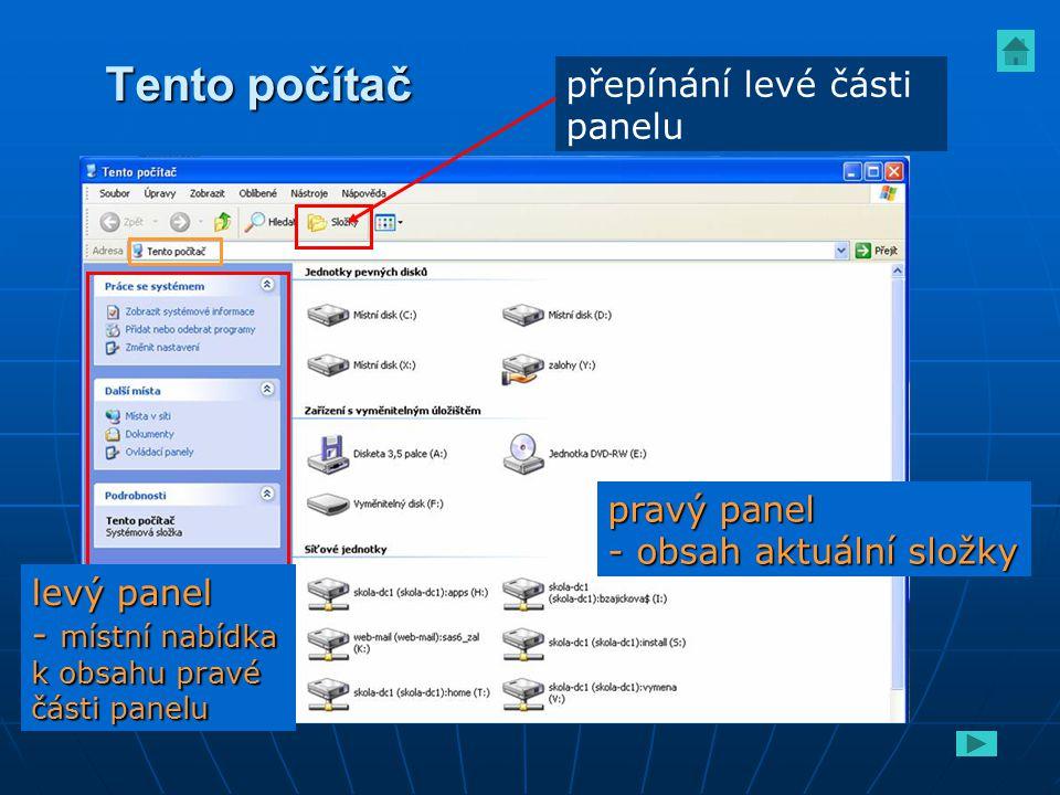 Tento počítač přepínání levé části panelu pravý panel