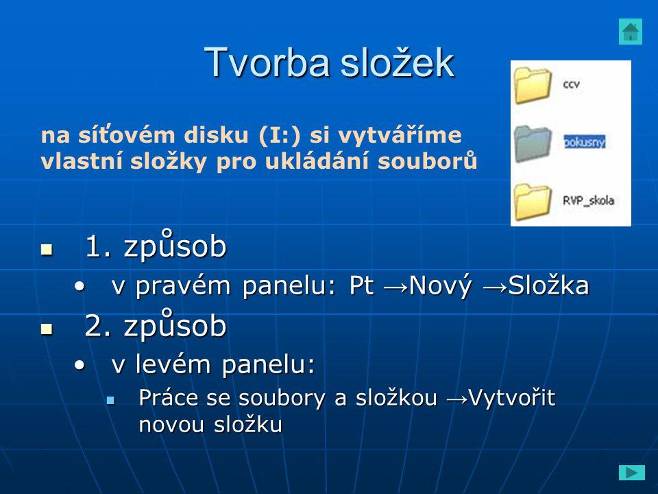 Tvorba složek 1. způsob 2. způsob v pravém panelu: Pt →Nový →Složka