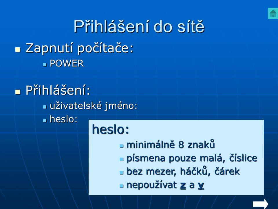 Přihlášení do sítě Zapnutí počítače: Přihlášení: heslo: POWER